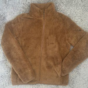 Uniqlo Fluffy Yarn Fleece Full-Zip Jacket - Brown